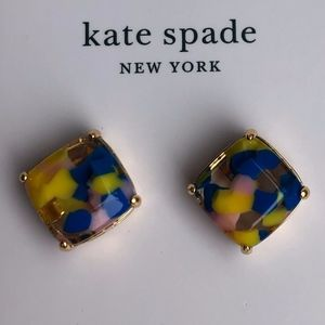 NWT Kate Spade Marbled Small Square Stud Earrings